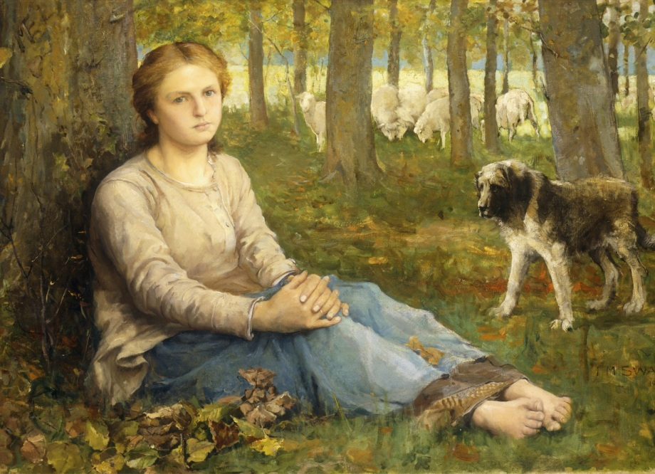 A Shepherdess and her Flock, 1878-9 (oil on canvas)