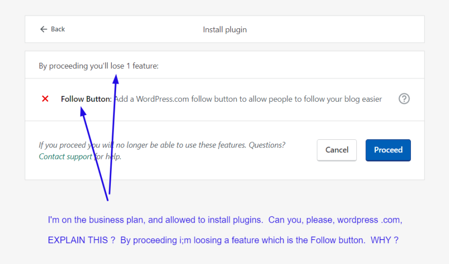 Losing the Follow Button. On the Business Plan. Why ? WordPress .COM ?