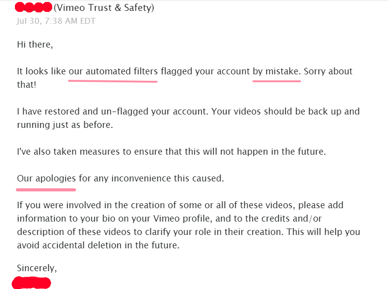vimeo flagged