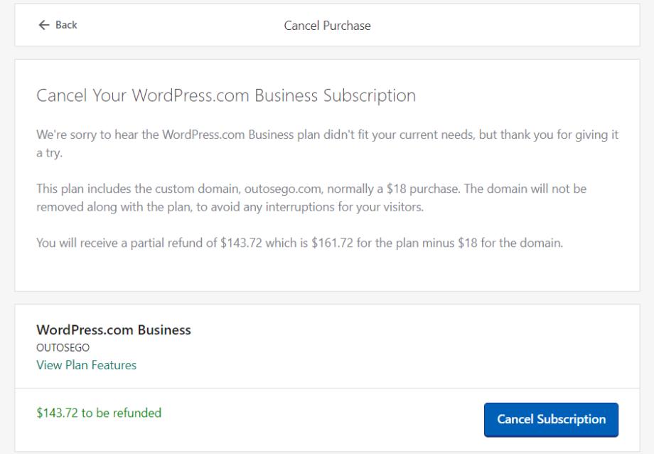 Wordpress .com - refund