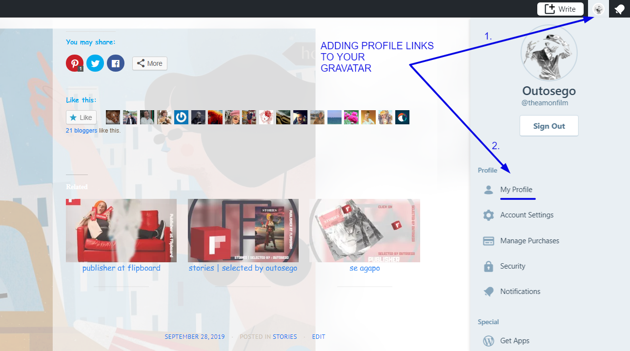 Adding profile links to gravatar 1