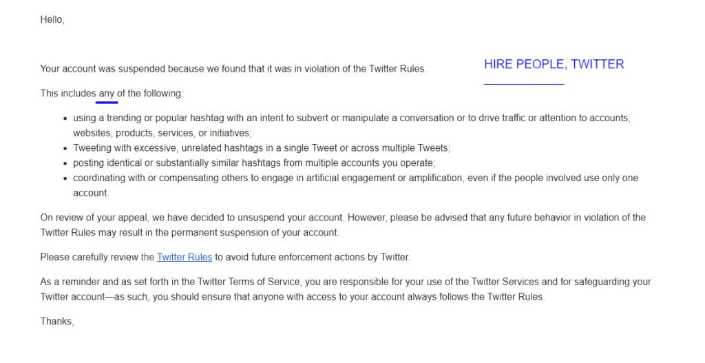 Twitter unsuspend
